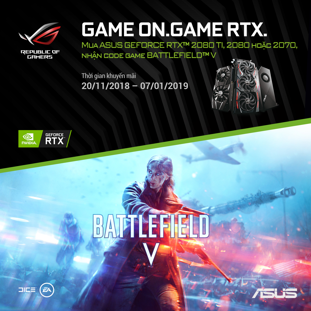 Mua card ASUS GeForce RTX 2080TI / 2080 / 2070 tặng code game