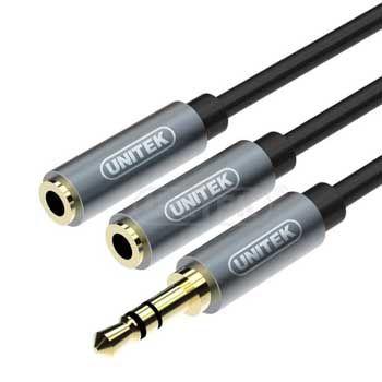 Cáp Loa Audio 3.5mm 1 ra 2 Unitek Y-C 956ABK (dài 0.2m)